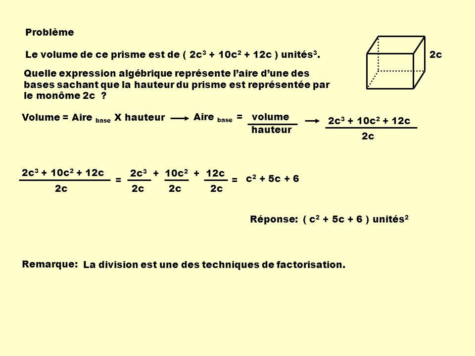 Problème Le volume de ce prisme est de ( 2c3 + 10c2 + 12c ) unités3. 2c.