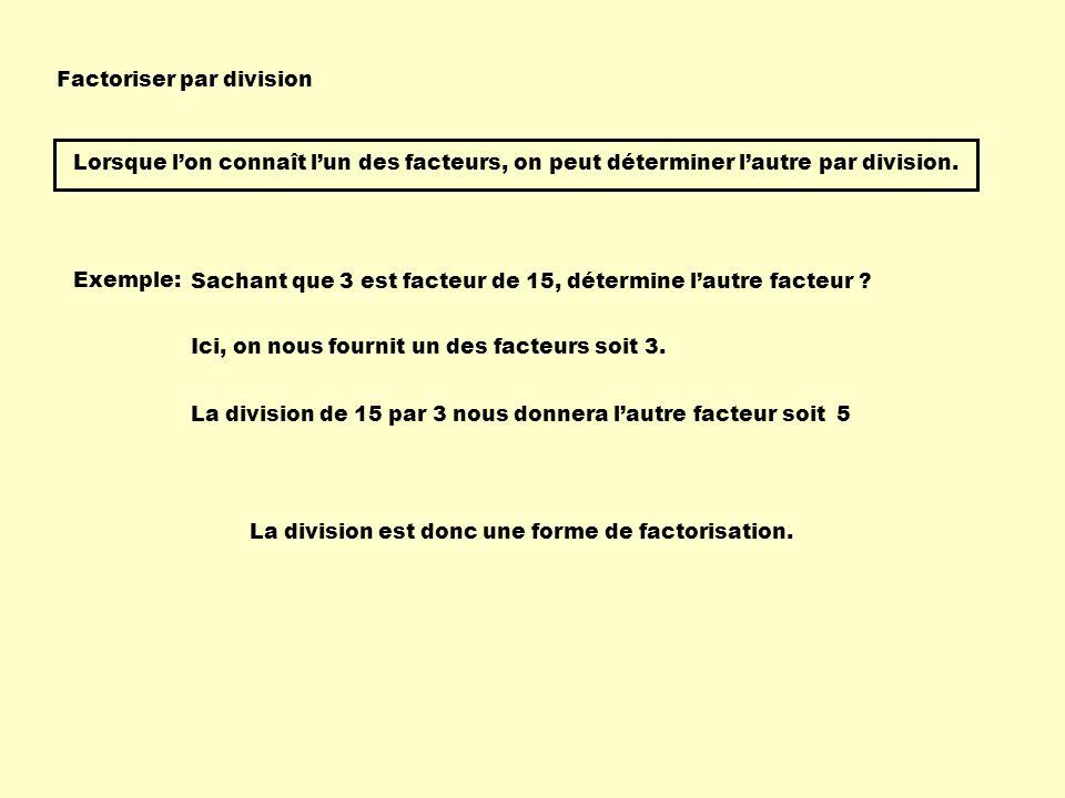 Factoriser par division