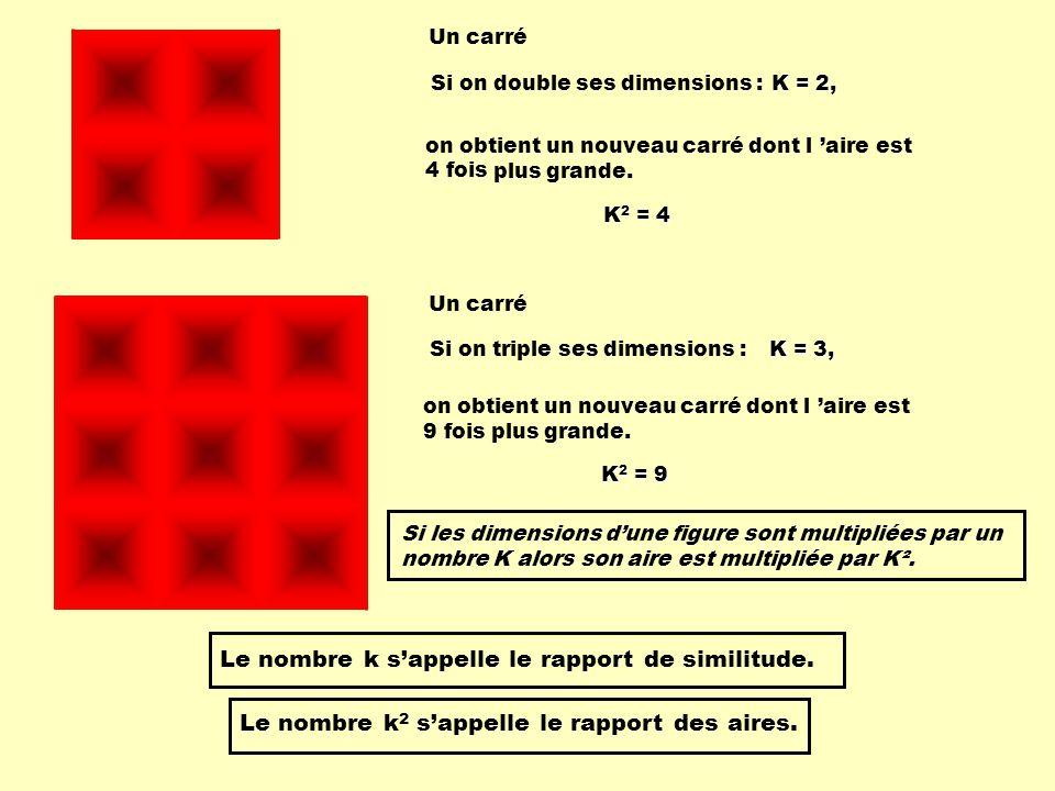 Le nombre k s'appelle le rapport de similitude.