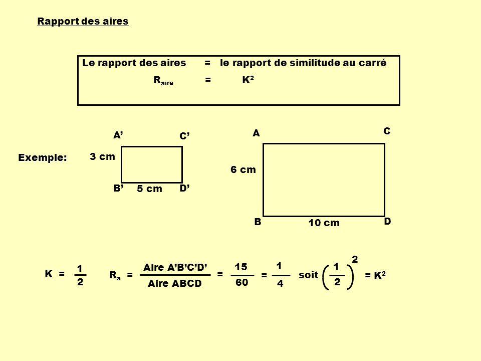 Rapport des aires Le rapport des aires = le rapport de similitude au carré. Raire = K2.