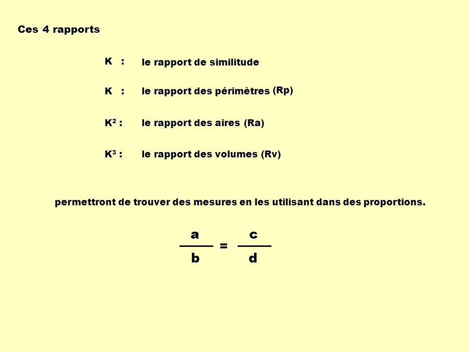 a b c d = Ces 4 rapports K : le rapport de similitude K :