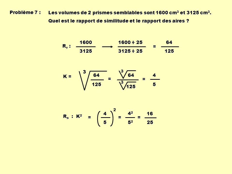 Les volumes de 2 prismes semblables sont 1600 cm3 et 3125 cm3.