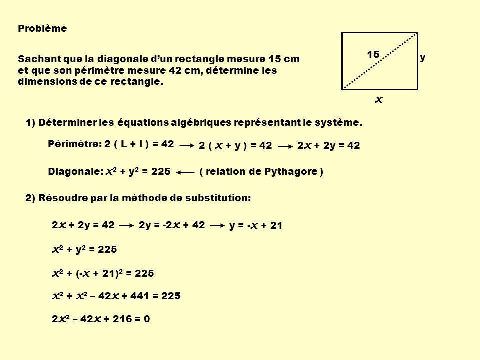 x x2 + y2 = 225 x2 + (-x + 21)2 = 225 x2 + x2 – 42x + 441 = 225