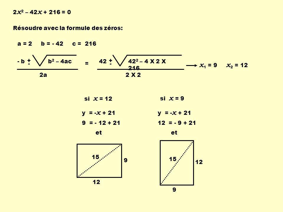 x1 = 9 x2 = 12 2x2 – 42x + 216 = 0 Résoudre avec la formule des zéros: