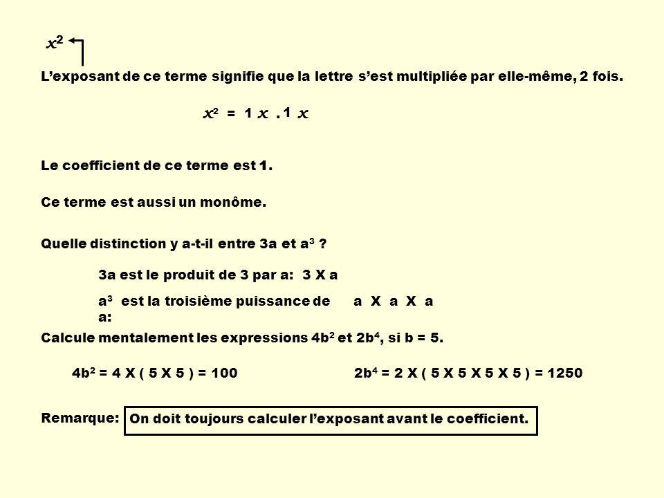 x2 L'exposant de ce terme signifie que la lettre s'est multipliée par elle-même, 2 fois. x2 = x . x.