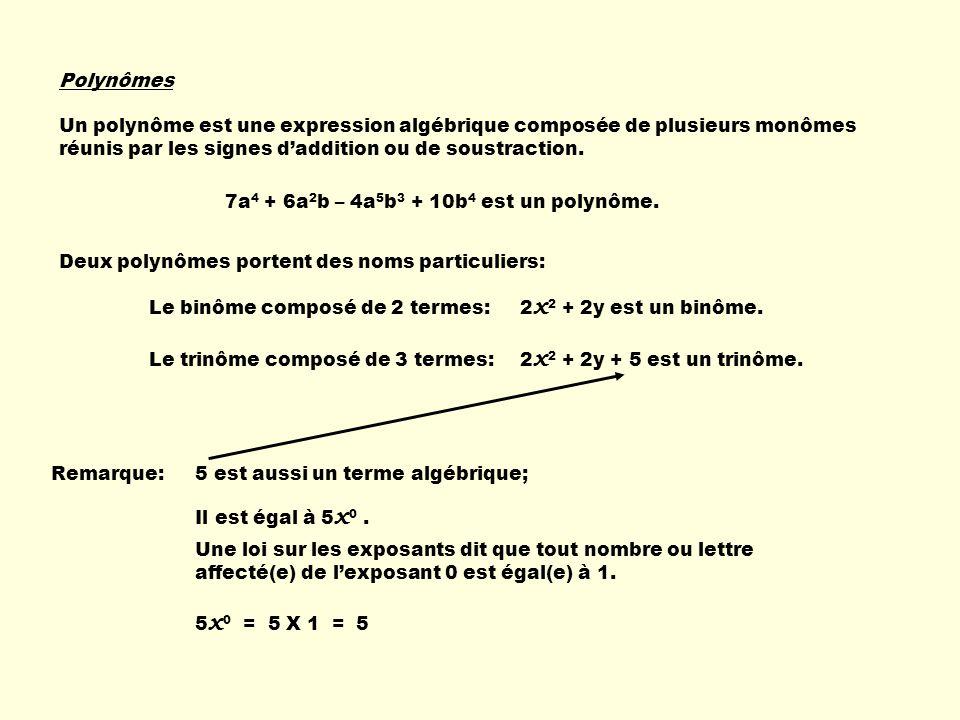 Polynômes Un polynôme est une expression algébrique composée de plusieurs monômes réunis par les signes d'addition ou de soustraction.