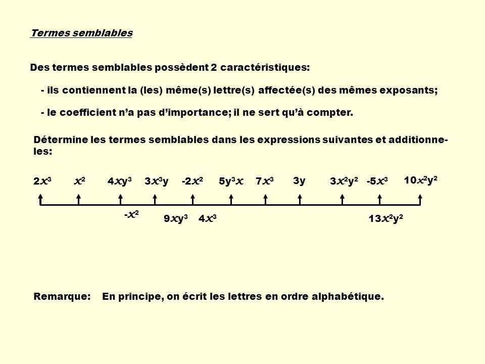Termes semblables Des termes semblables possèdent 2 caractéristiques: - ils contiennent la (les) même(s) lettre(s) affectée(s) des mêmes exposants;