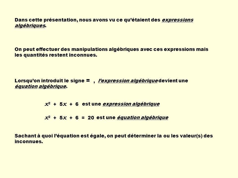 Dans cette présentation, nous avons vu ce qu'étaient des expressions algébriques.