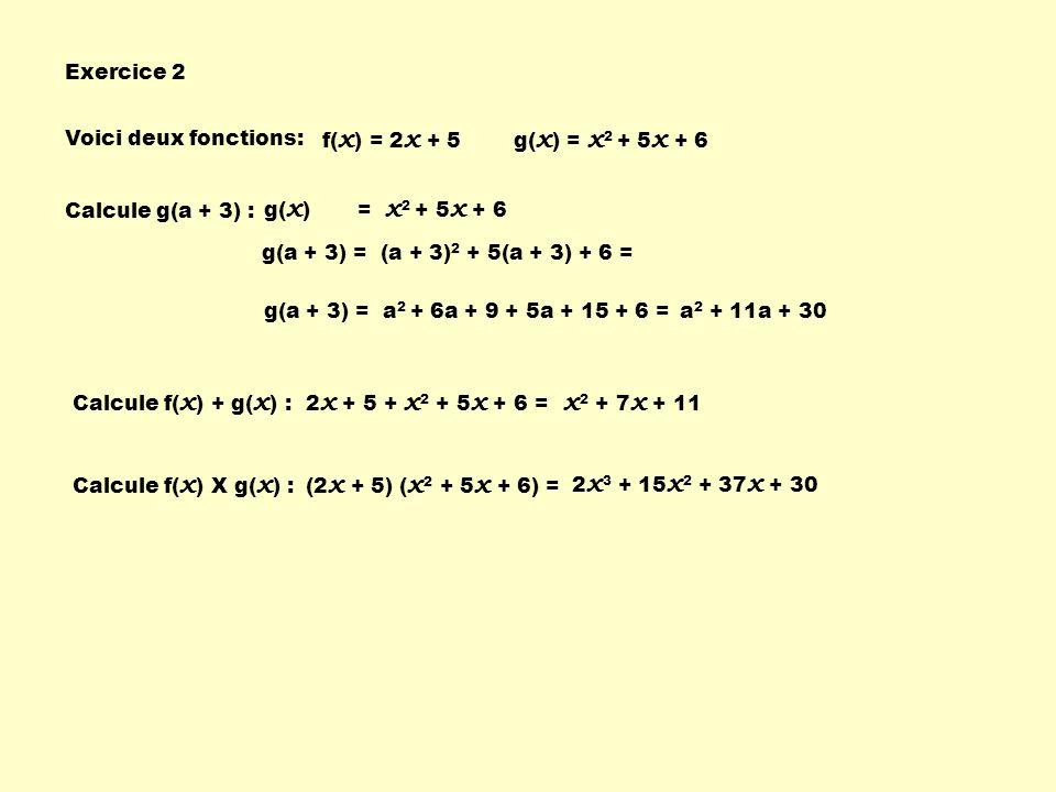 x2 + 7x + 11 Exercice 2 Voici deux fonctions: f(x) = 2x + 5