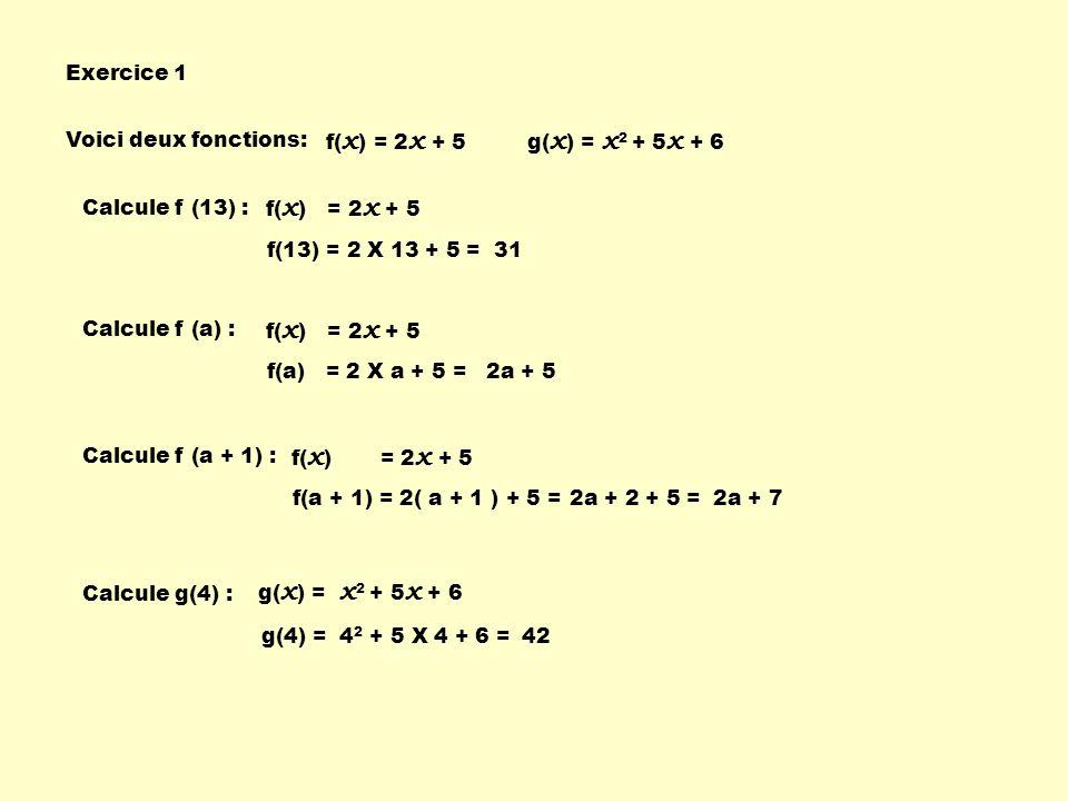 Exercice 1 Voici deux fonctions: f(x) = 2x + 5. g(x) = x2 + 5x + 6. Calcule f (13) : f(x) = 2x + 5.