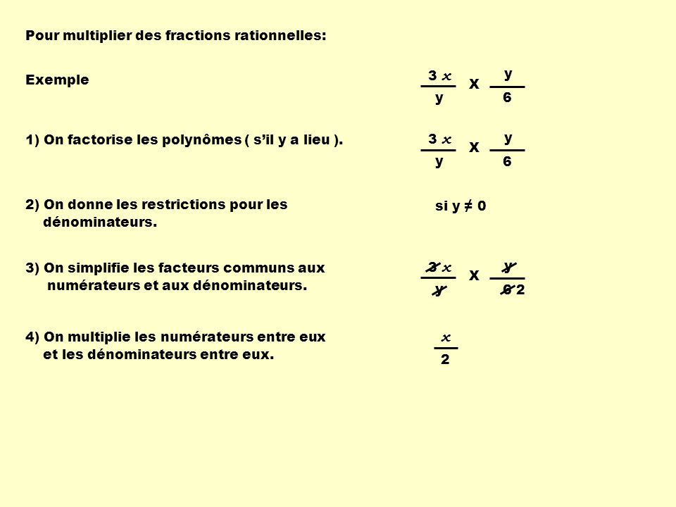 x Pour multiplier des fractions rationnelles: Exemple 3 x y X 6