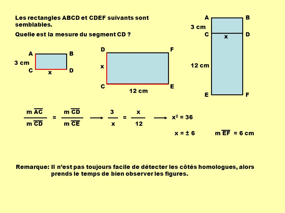 Les rectangles ABCD et CDEF suivants sont semblables.