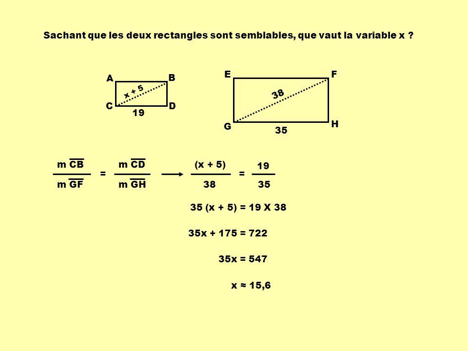 Sachant que les deux rectangles sont semblables, que vaut la variable x