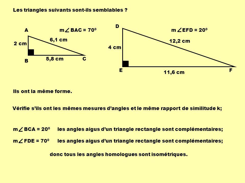 Les triangles suivants sont-ils semblables
