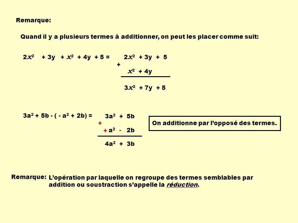 Remarque: Quand il y a plusieurs termes à additionner, on peut les placer comme suit: 2x2 + 3y + x2 + 4y + 5 =