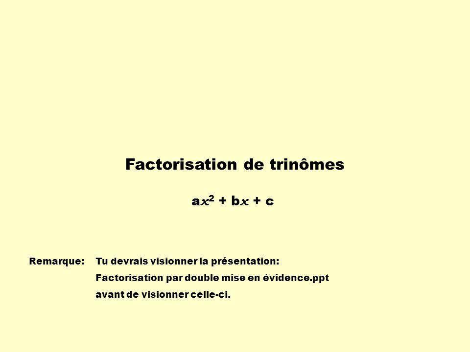 Factorisation de trinômes