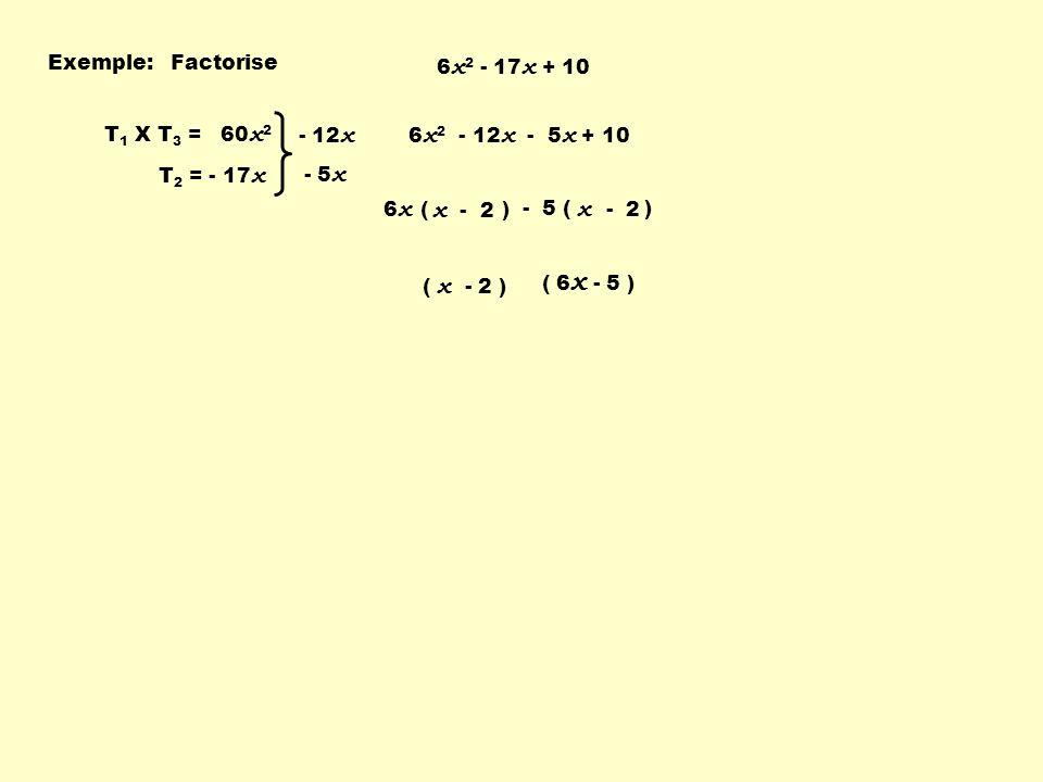 x - 2 x - 2 Exemple: Factorise 6x2 - 17x + 10 T1 X T3 = 60x2