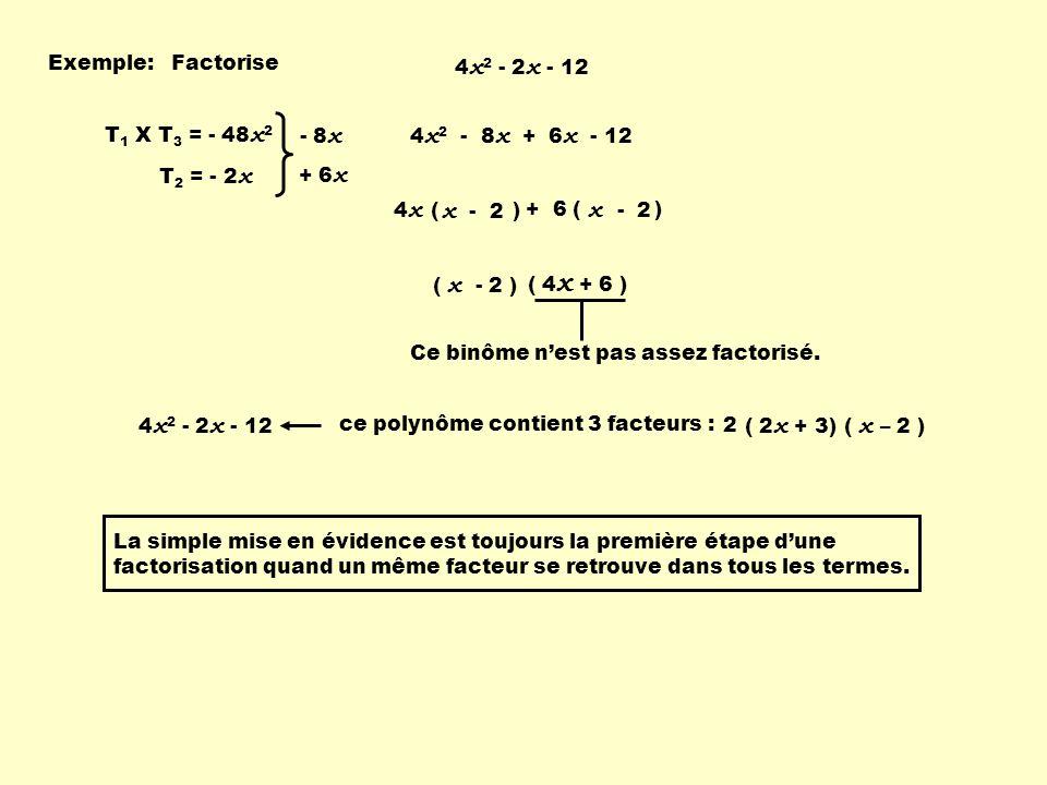 x - 2 x - 2 Exemple: Factorise 4x2 - 2x - 12 T1 X T3 = - 48x2