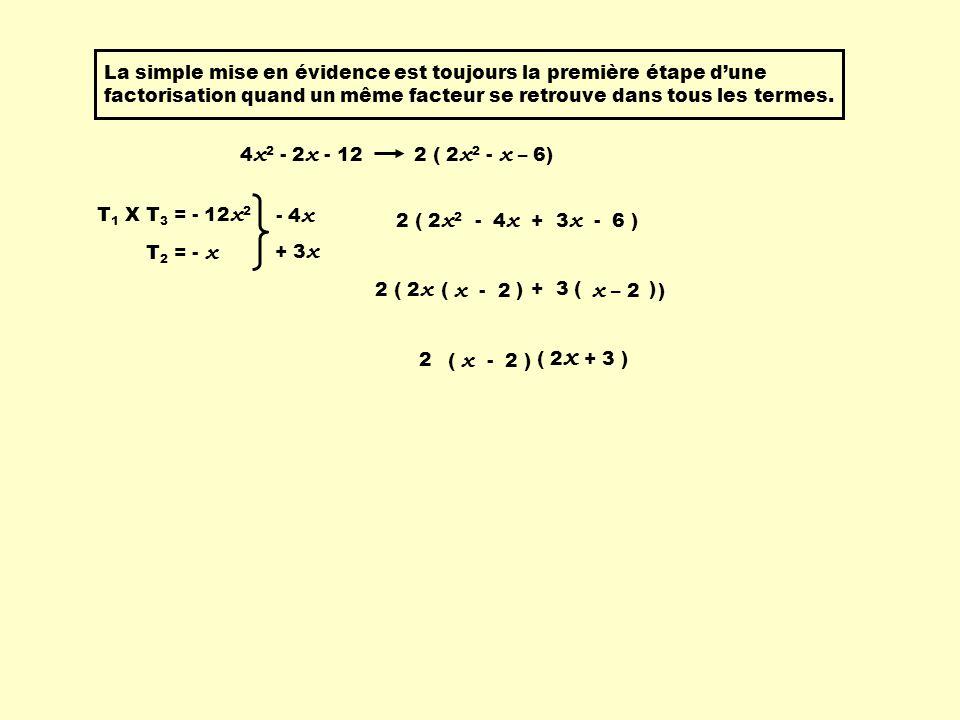 La simple mise en évidence est toujours la première étape d'une factorisation quand un même facteur se retrouve dans tous les termes.