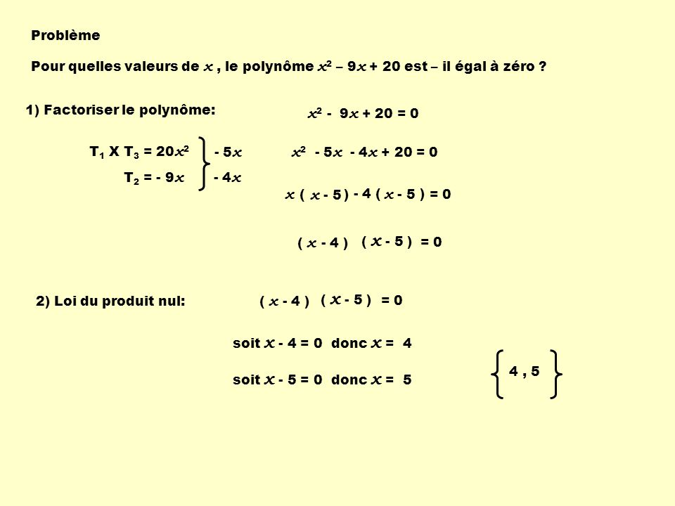 x2 - 9x + 20 = 0 x2 - 5x - 4x + 20 = 0 x ( ) x - 5 x - 5 Problème