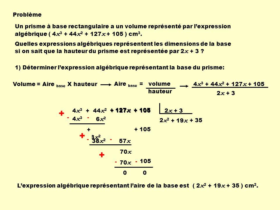 Problème Un prisme à base rectangulaire a un volume représenté par l'expression algébrique ( 4x3 + 44x2 + 127x + 105 ) cm3.