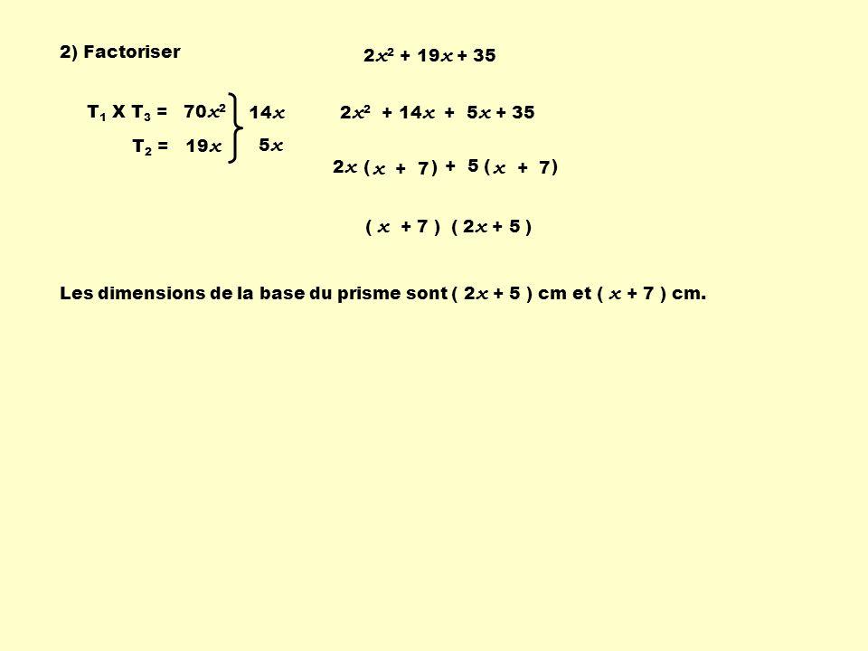 x + 7 x + 7 2) Factoriser 2x2 + 19x + 35 T1 X T3 = 70x2 T2 = 19x 14x