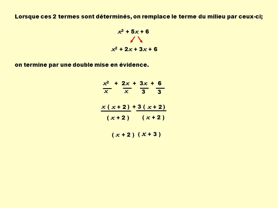 x2 + 5x + 6 x2 + 2x + 3x + 6 x2 + 2x + 3x + 6 x x ( ) x + 2 x + 2
