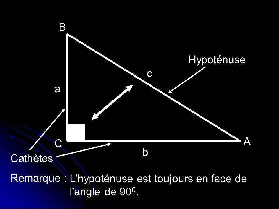 B Hypoténuse c a A C b Cathètes Remarque : L'hypoténuse est toujours en face de l'angle de 900.