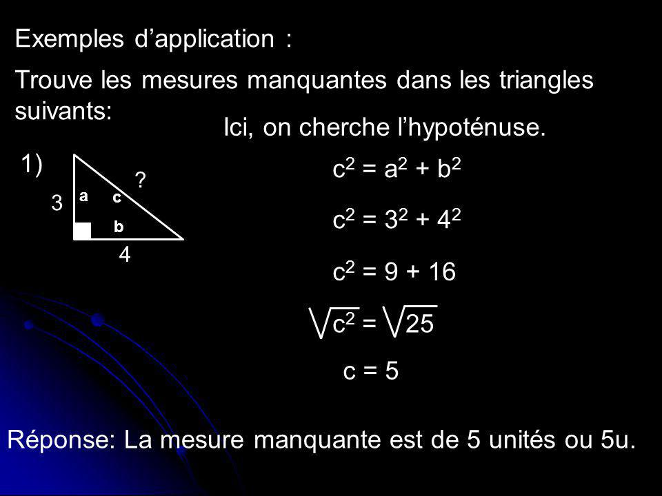 Exemples d'application :