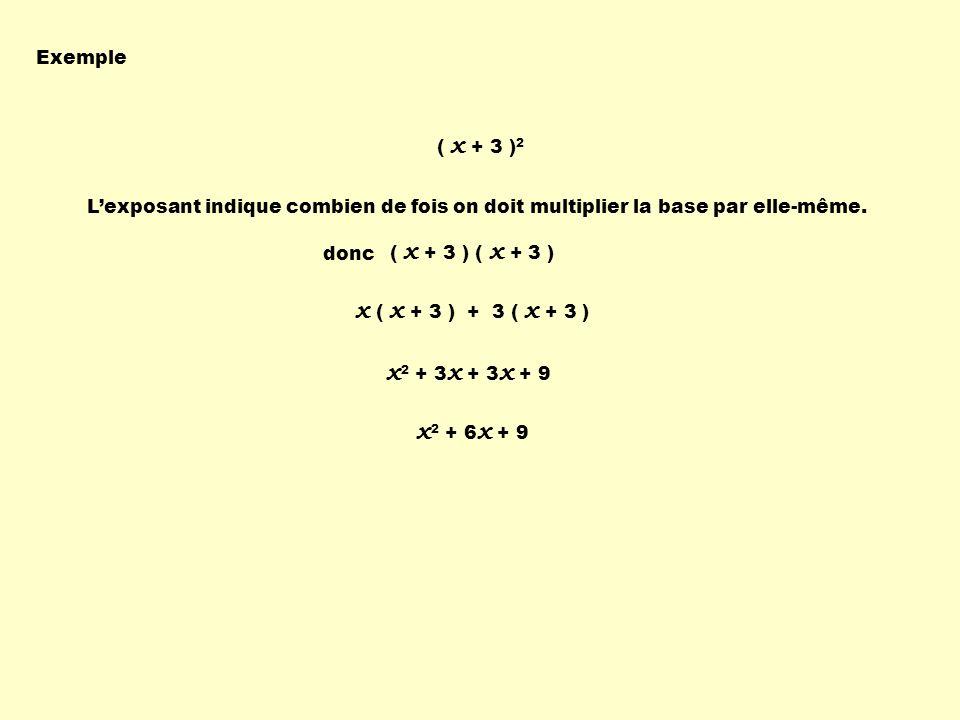 x ( x + 3 ) + 3 ( x + 3 ) x2 + 3x + 3x + 9 x2 + 6x + 9 Exemple