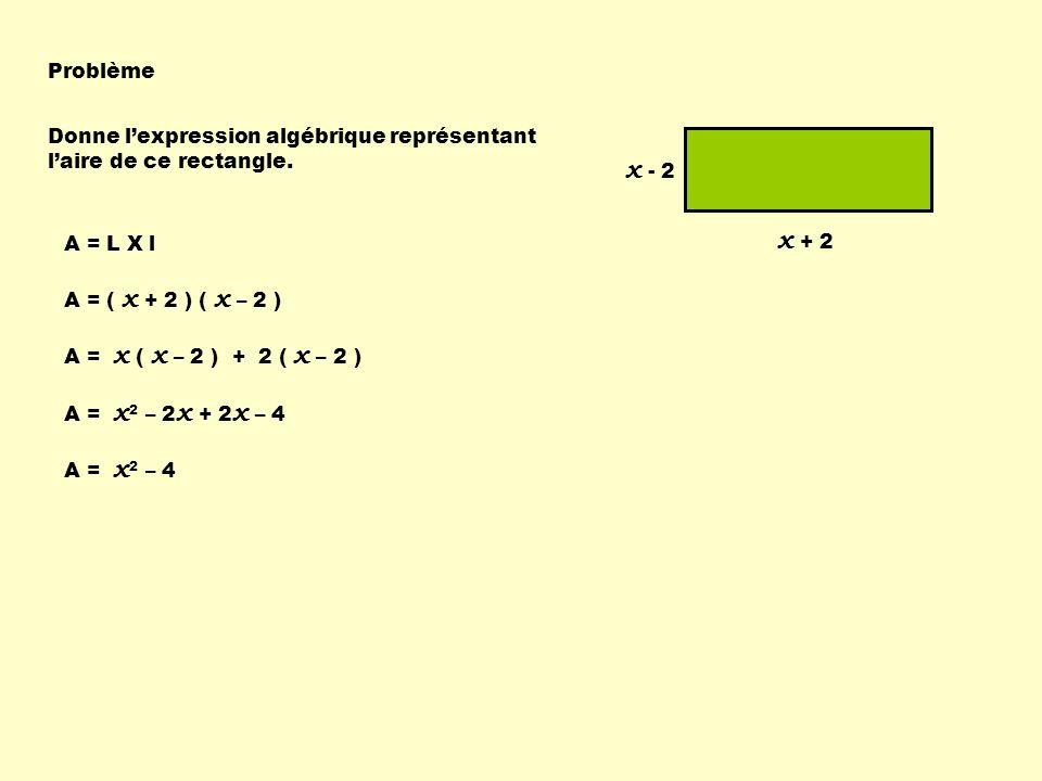 Problème Donne l'expression algébrique représentant l'aire de ce rectangle. x - 2. x + 2. A = L X l.
