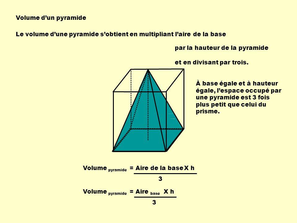 Volume d'un pyramide Le volume d'une pyramide s'obtient en multipliant l'aire de la base. par la hauteur de la pyramide.