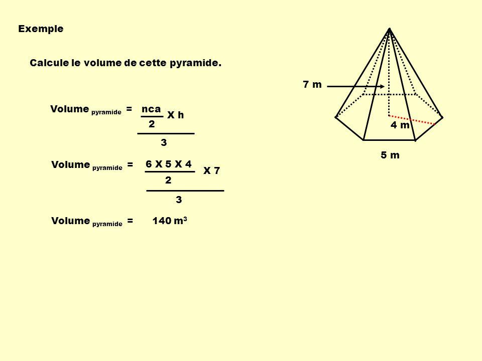 Exemple 4 m. 5 m. 7 m. Calcule le volume de cette pyramide. Volume pyramide = nca. 3. 2. X h.