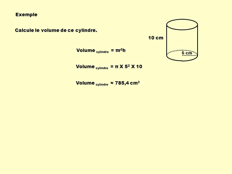 Calcule le volume de ce cylindre.
