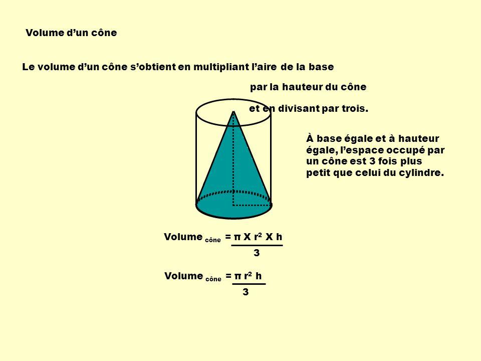 Volume d'un cône Le volume d'un cône s'obtient en multipliant l'aire de la base. par la hauteur du cône.