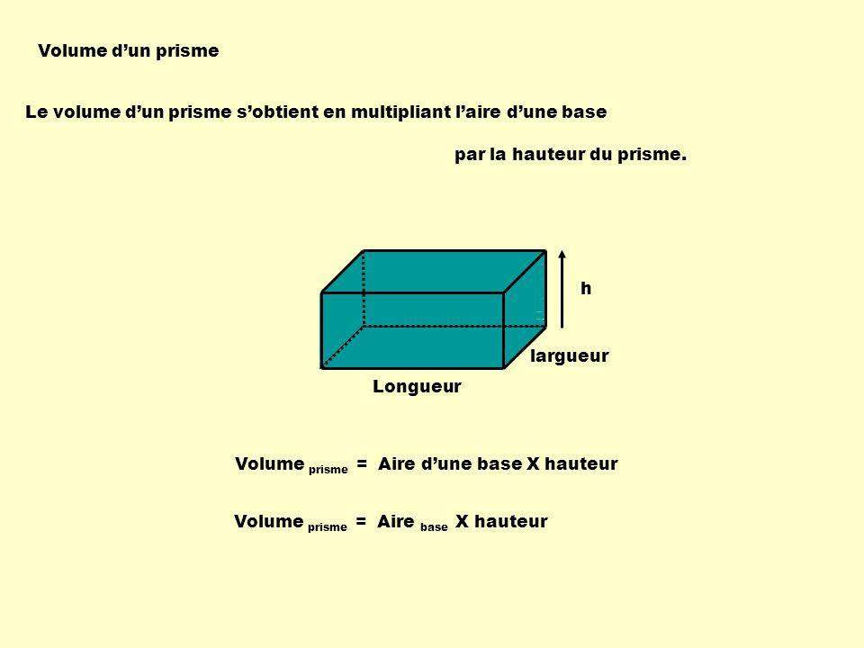 Volume d'un prisme Le volume d'un prisme s'obtient en multipliant l'aire d'une base. par la hauteur du prisme.