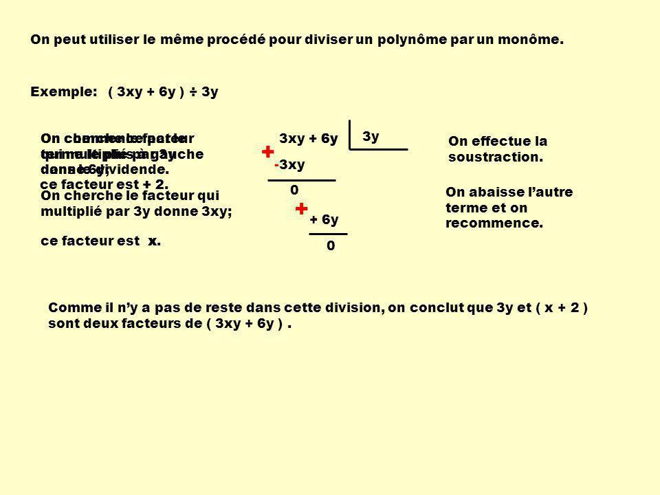 On peut utiliser le même procédé pour diviser un polynôme par un monôme.