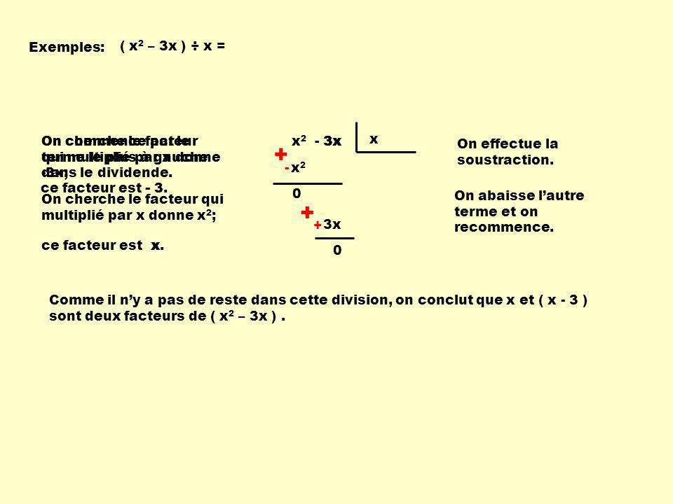 + - - + Exemples: ( x2 – 3x ) ÷ x =