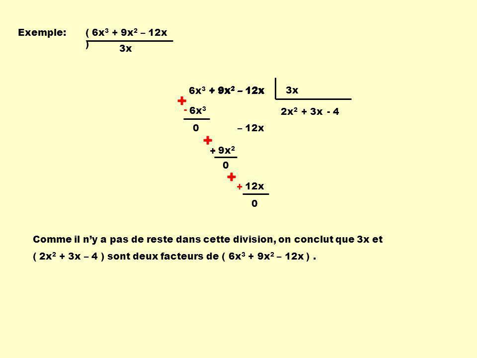 + - - + + - Exemple: ( 6x3 + 9x2 – 12x ) 3x 6x3 + 9x2 – 12x
