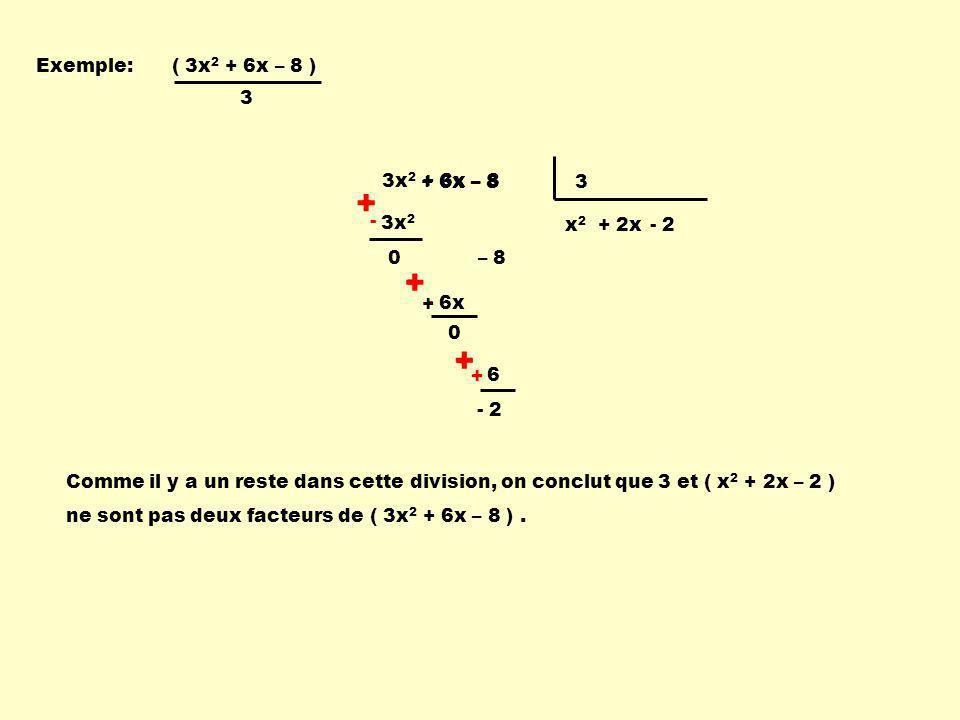 + - - + + - Exemple: ( 3x2 + 6x – 8 ) 3 3x2 + 6x – 8 + 6x – 8 3 - 3x2