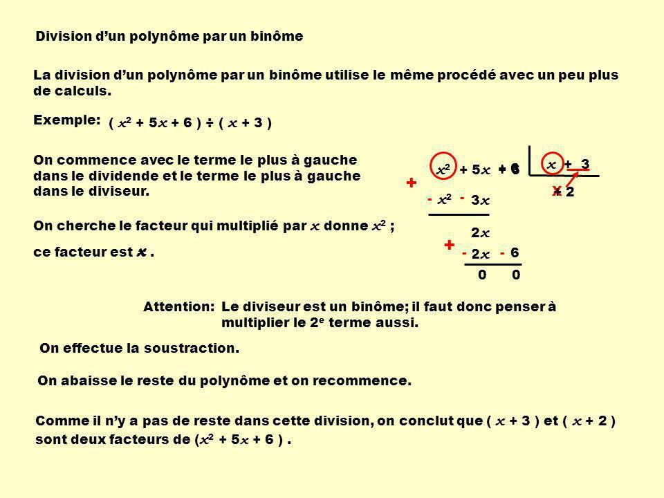 + + x + 3 x2 + 5x + 6 x2 x Division d'un polynôme par un binôme