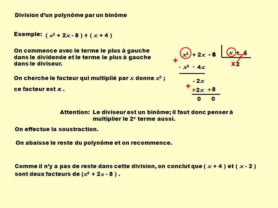 + + x + 4 x2 + 2x - 8 x2 x Division d'un polynôme par un binôme