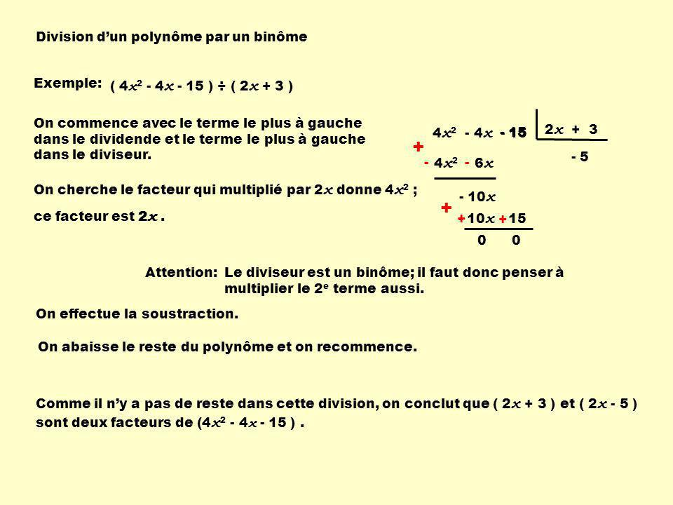 + + Division d'un polynôme par un binôme Exemple: