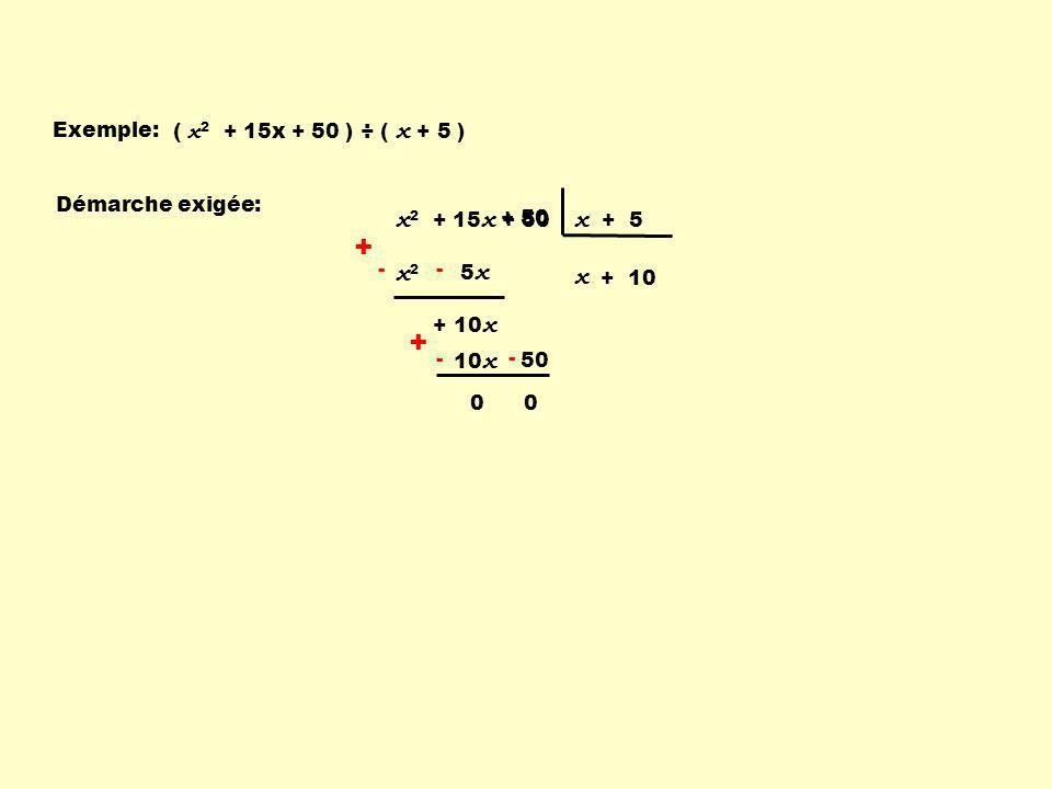 + + x2 + 15x + 50 x + 5 x2 x Exemple: ( x2 + 15x + 50 ) ÷ ( x + 5 )