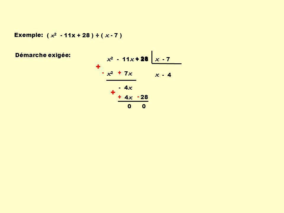 + x2 - 11x + 28 x - 7 x2 x Exemple: ( x2 - 11x + 28 ) ÷ ( x - 7 )