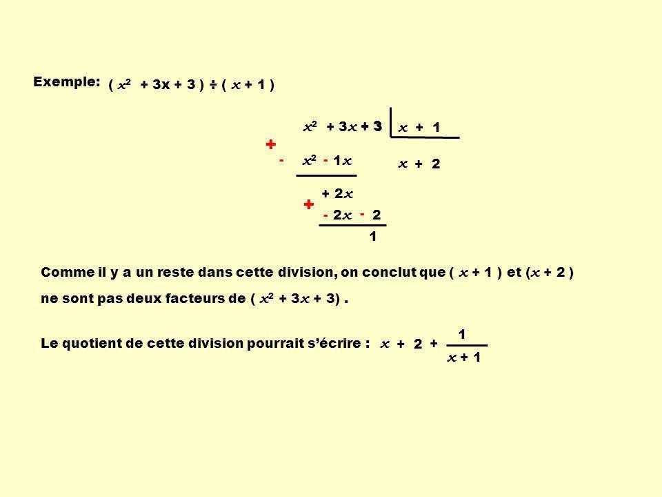 + + x2 + 3x + 3 x + 1 x2 x x x + 1 Exemple: