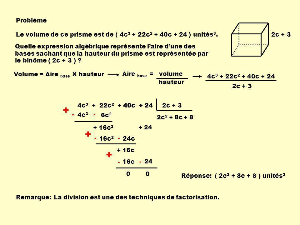 Problème Le volume de ce prisme est de ( 4c3 + 22c2 + 40c + 24 ) unités3. 2c + 3.