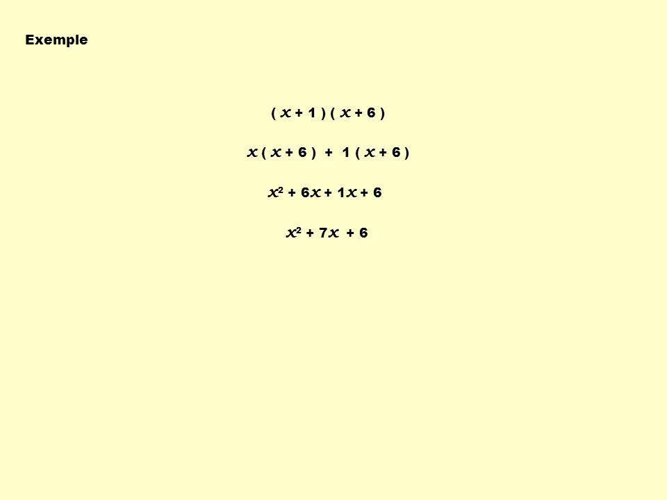 x ( x + 6 ) + 1 ( x + 6 ) x2 + 6x + 1x + 6 x2 + 7x + 6 Exemple