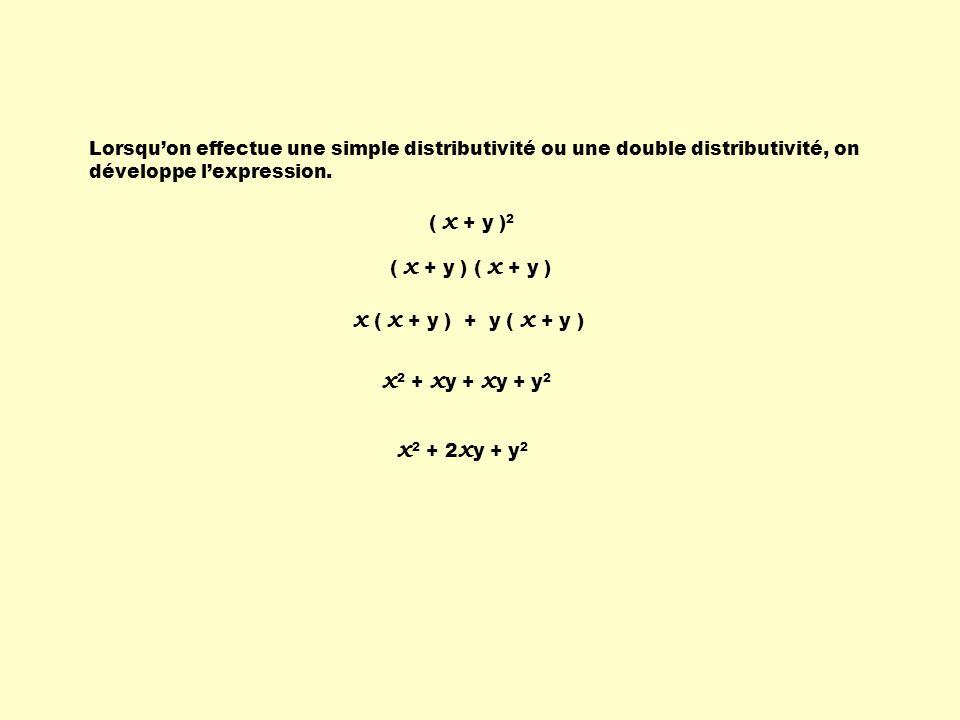 x ( x + y ) + y ( x + y ) x2 + xy + xy + y2 x2 + 2xy + y2