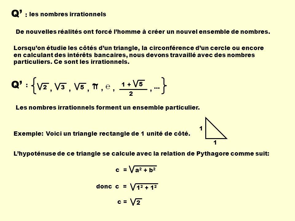 Q' : Q' ~ ℮ les nombres irrationnels